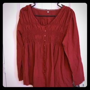 Tops - Bohemian long sleeve lightweight top sz XL